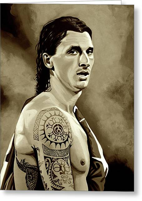 Zlatan Ibrahimovic Sepia Greeting Card by Paul Meijering