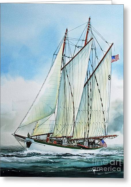 Tall Ship Canvas Greeting Cards - Zodiac Greeting Card by James Williamson