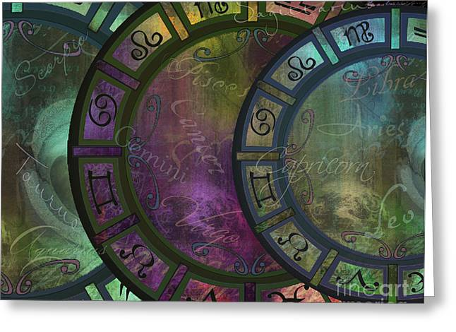Cancer Paintings Greeting Cards - Zodiac Wheel Greeting Card by Mindy Sommers