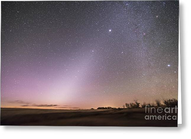 Heavenly Sunrise Greeting Cards - Zodiacal Light In Dawn Sky, Alberta Greeting Card by Alan Dyer