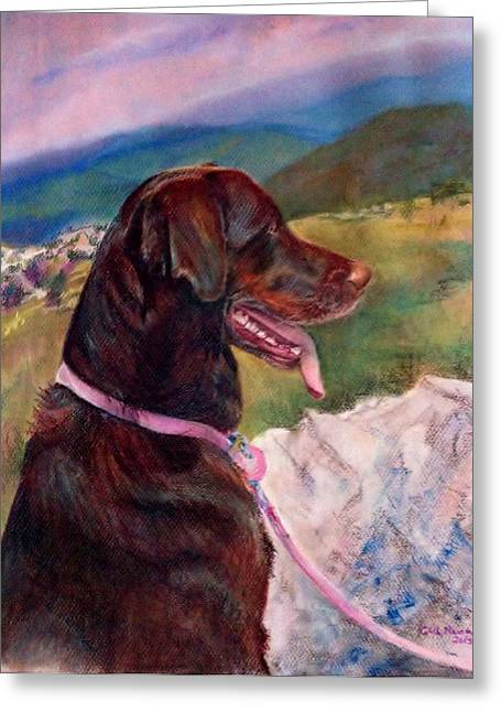 Chocolate Lab Pastels Greeting Cards - Zoe Greeting Card by Gail Newman