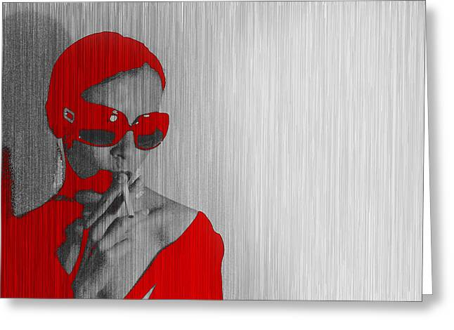 Smoking Greeting Cards - Zoe in Red Greeting Card by Naxart Studio