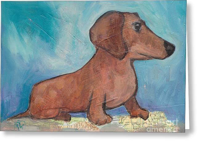 Doxie Greeting Cards - Zoey Conquers the World Greeting Card by Robin Wiesneth