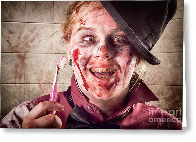 Zombie at dentist holding toothbrush. Tooth decay Greeting Card by Ryan Jorgensen