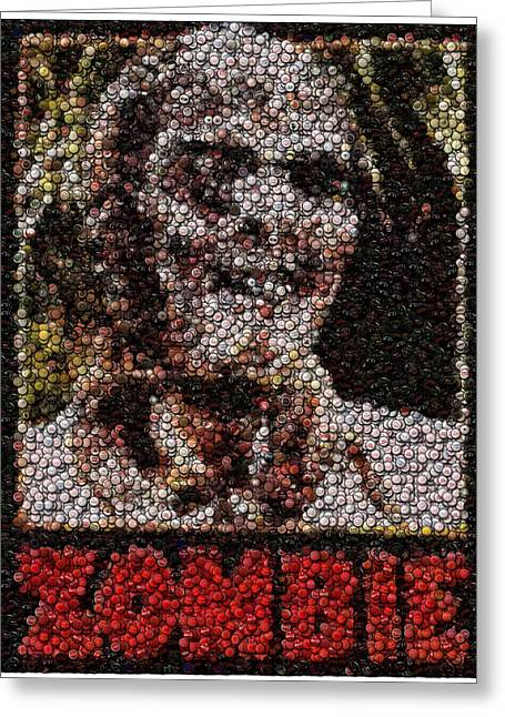 Bottlecaps Greeting Cards - Zombie Bottle Cap Mosaic Greeting Card by Paul Van Scott