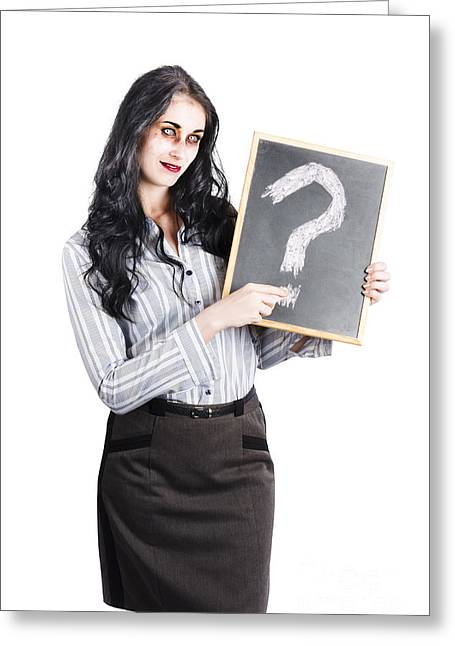 Beauty Mark Photographs Greeting Cards - Zombie businesswoman Greeting Card by Ryan Jorgensen