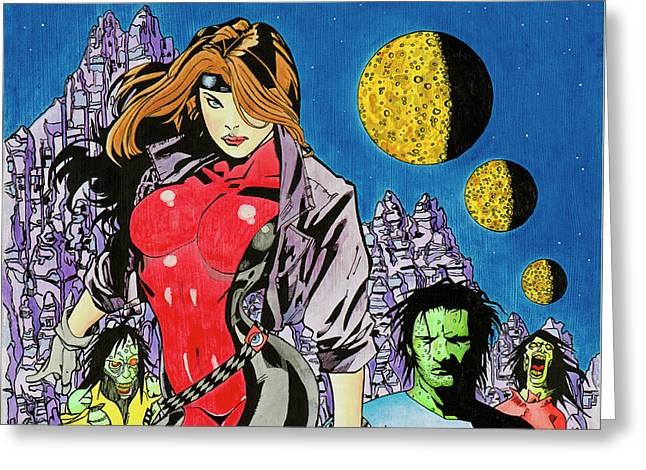 Zombie Encounter At Three Moon Canyon Greeting Card by Alan Morrison