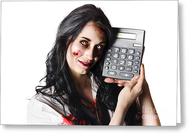 Zombie Finance Worker With Calculator Greeting Card by Jorgo Photography - Wall Art Gallery