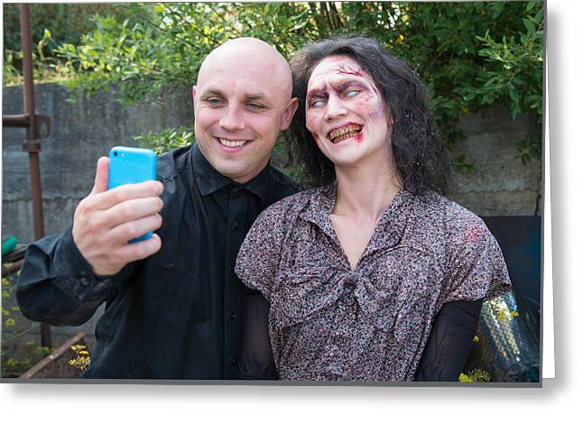 Quirky Greeting Cards - Zombie fun - but first let me take a selfie Greeting Card by Matthias Hauser