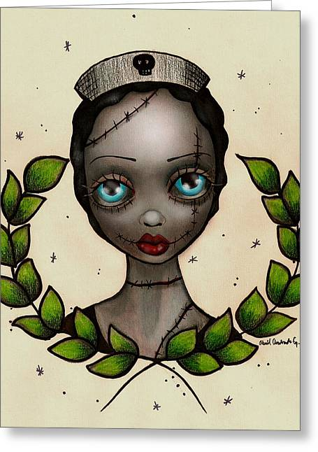 Eyes Paintings Greeting Cards - Zombie Nurse Greeting Card by  Abril Andrade Griffith