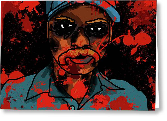 Post Disaster Greeting Cards - Zombie Portrait Greeting Card by Jera Sky