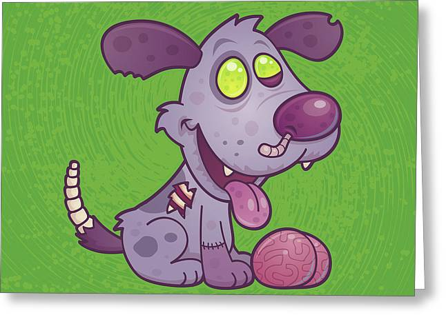 Puppy Digital Greeting Cards - Zombie Puppy Greeting Card by John Schwegel