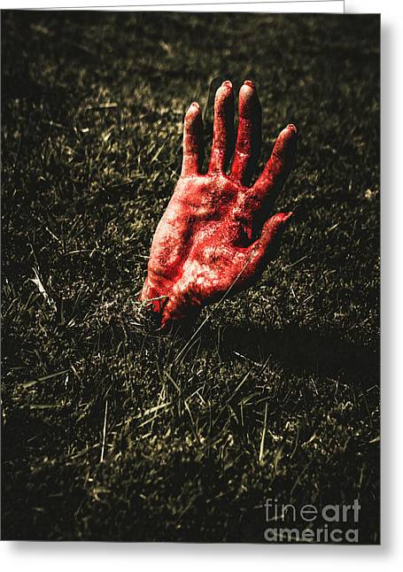 Zombie Rising From A Shallow Grave Greeting Card by Jorgo Photography - Wall Art Gallery