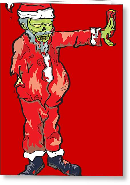 Zombie Santa Claus Illustration Greeting Card by Jorgo Photography - Wall Art Gallery