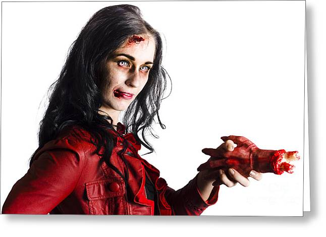 Zombie Shaking Severed Hand Greeting Card by Jorgo Photography - Wall Art Gallery