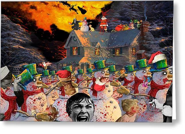 Kinkade Greeting Cards - Zombie Snowmen Christmas Greeting Card by Barry Kite