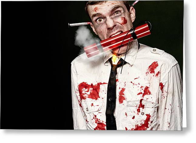 Clenched Teeth Greeting Cards - Zombie Suicide Bomber Holding Explosives In Mouth Greeting Card by Ryan Jorgensen