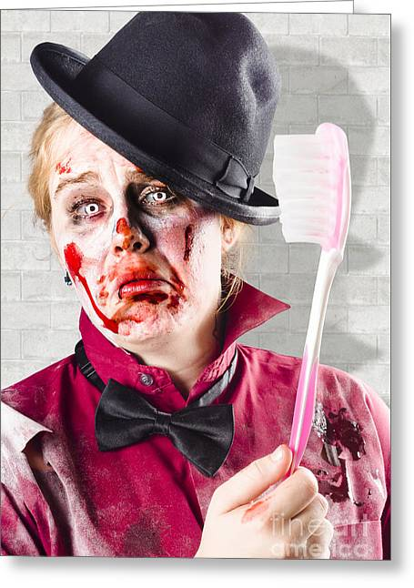 Whimsical. Greeting Cards - Zombie with big toothbrush. Fear of the dentist Greeting Card by Ryan Jorgensen