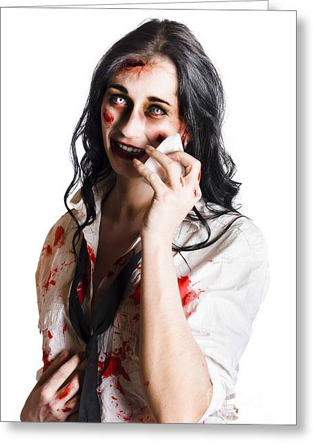 Distraught Greeting Cards - Zombie woman distressed Greeting Card by Ryan Jorgensen