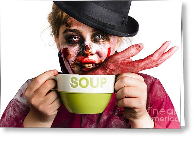 Meaty Greeting Cards - Zombie woman eating hand soup Greeting Card by Ryan Jorgensen