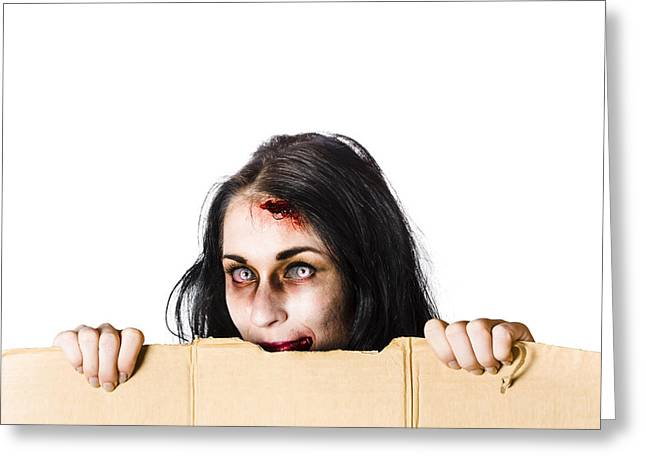 Cardboard Greeting Cards - Zombie woman peering out cardboard box Greeting Card by Ryan Jorgensen