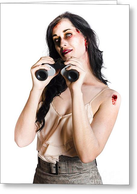 Straps Greeting Cards - Zombie woman with binoculars Greeting Card by Ryan Jorgensen