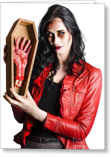 Fiend Greeting Cards - Zombie Woman with Coffin and Severed Hand Greeting Card by Ryan Jorgensen