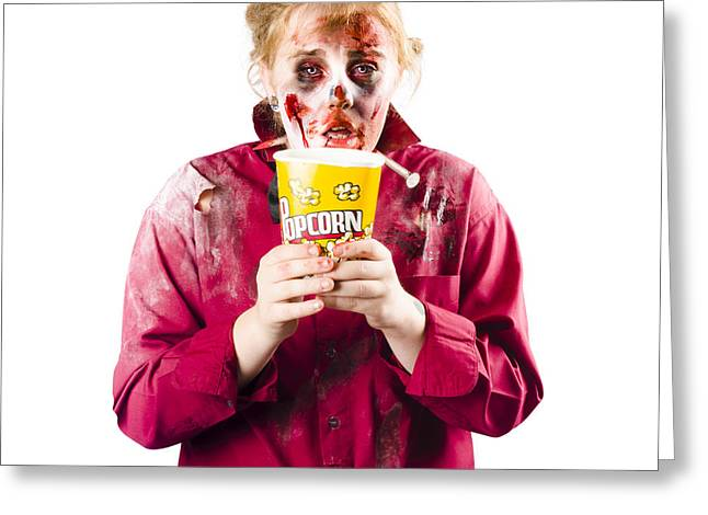Food Scare Greeting Cards - Zombie woman with popcorn Greeting Card by Ryan Jorgensen