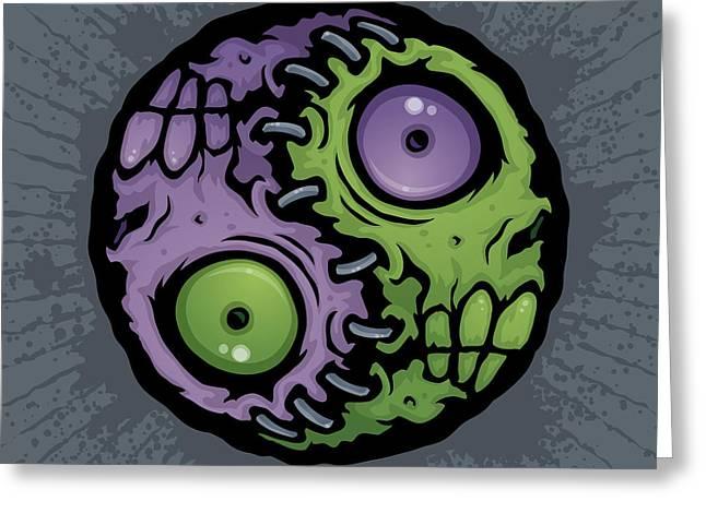 Zombie Yin-Yang Greeting Card by John Schwegel