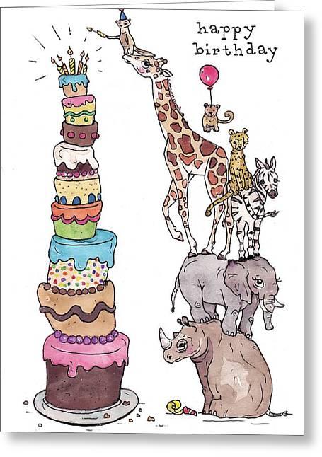 Zoo Animals Happy Birthday Card Greeting Card by Katrina Davis