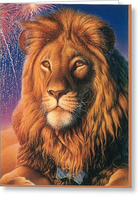 Portraits Of Cats Greeting Cards - ZooFari Poster The Lion Greeting Card by Hans Droog