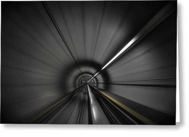 Sel Greeting Cards - Zooming along in the tunnel of hope Greeting Card by Peter Thoeny