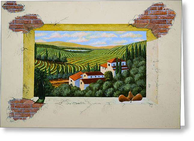 Rolling Hills Vinyards Greeting Cards - Zorn Villa Mural Sketch Greeting Card by Frank Wilson