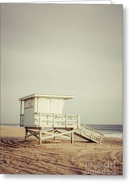 1970s Greeting Cards - Zuma Beach Lifeguard Tower #3 Malibu California Greeting Card by Paul Velgos