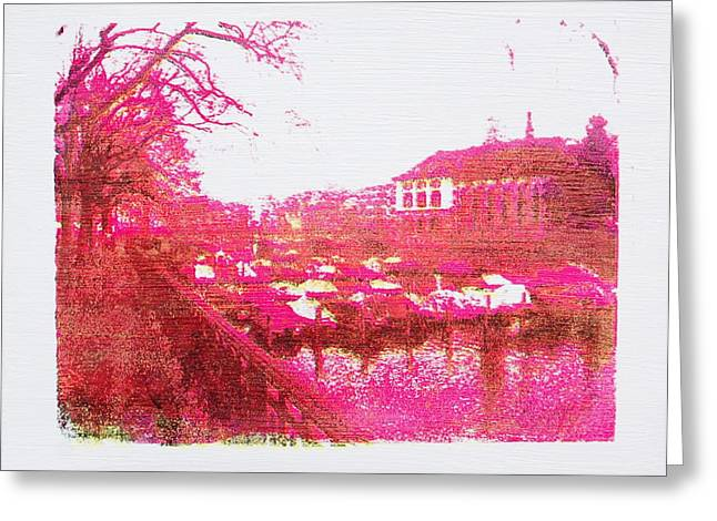 Hand Pulled Print Greeting Cards - Zurich in magenta Greeting Card by Jonathan Deutsch