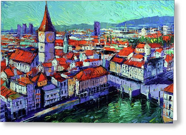 Zurich View Greeting Card by Mona Edulesco