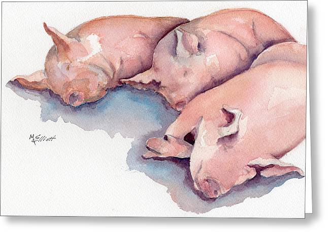 Hogs Greeting Cards - Zzzzzzzz Greeting Card by Marsha Elliott