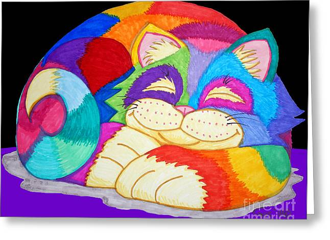 Cat Drawings Greeting Cards - ZZzzzzzzzz Cat 3 Greeting Card by Nick Gustafson