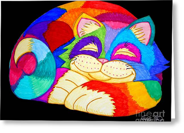 Cat Drawings Greeting Cards - ZZZZZZZZZZZZ Cat Greeting Card by Nick Gustafson
