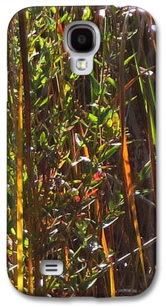 Abstract Digital Mixed Media Galaxy S4 Cases -    Abstract  Sparkle  Bamboo grass and pretty flowers elegant digital decorative formation   Galaxy S4 Case by Navin Joshi