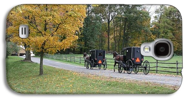Amish Family Photographs Galaxy S4 Cases -      An Autumn Amish Ride Galaxy S4 Case by R A W M