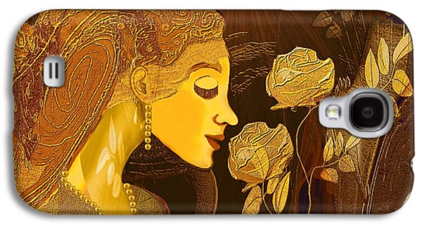 Gold Earrings Galaxy S4 Cases -   171 - Woman with Golden Roses     Galaxy S4 Case by Irmgard Schoendorf Welch