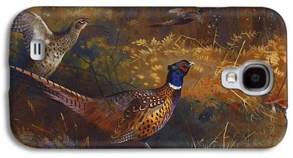 Group Of Birds Paintings Galaxy S4 Cases -  A Cock and Hen Pheasant at the Edge of a Wood Galaxy S4 Case by Archibald Thorburn