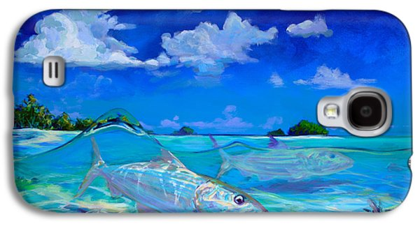 Tropical Oceans Galaxy S4 Cases -  A Place Id Rather Be - Caribbean Bonefish Fly Fishing Painting Galaxy S4 Case by Mike Savlen