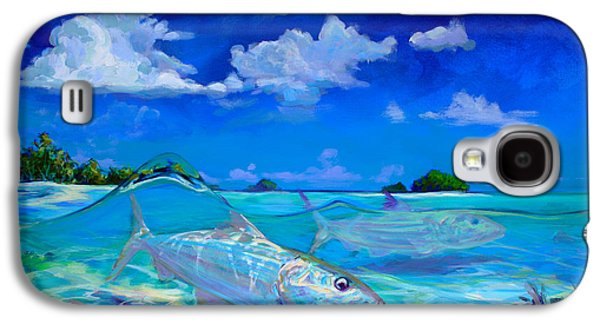 Flyfishing Galaxy S4 Cases -  A Place Id Rather Be - Caribbean Bonefish Fly Fishing Painting Galaxy S4 Case by Savlen Art