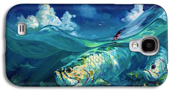 Tropical Oceans Galaxy S4 Cases -  A Place Id Rather Be - Caribbean Tarpon Fish Fly Fishing Painting Galaxy S4 Case by Mike Savlen
