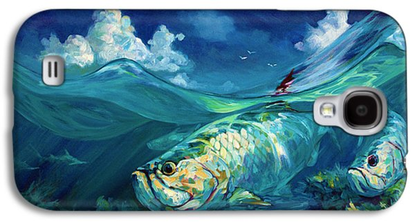 Flyfishing Galaxy S4 Cases -  A Place Id Rather Be - Caribbean Tarpon Fish Fly Fishing Painting Galaxy S4 Case by Savlen Art