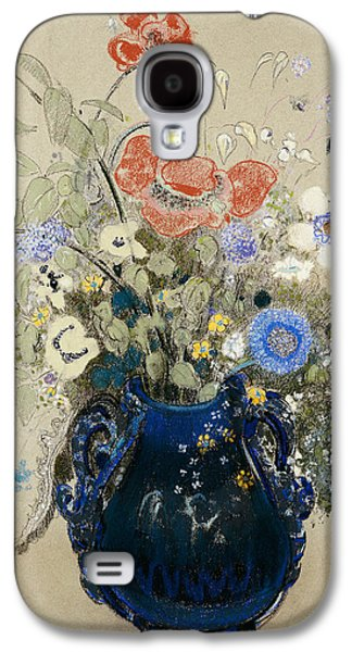 Flower Still Life Prints Galaxy S4 Cases -  A Vase of Blue Flowers Galaxy S4 Case by Odilon Redon