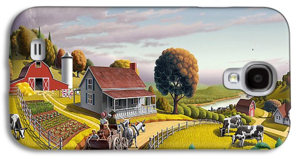 Pennsylvania Galaxy S4 Cases -  Appalachian Blackberry Patch Rustic Country Farm Folk Art Landscape - Rural Americana - Peaceful Galaxy S4 Case by Walt Curlee