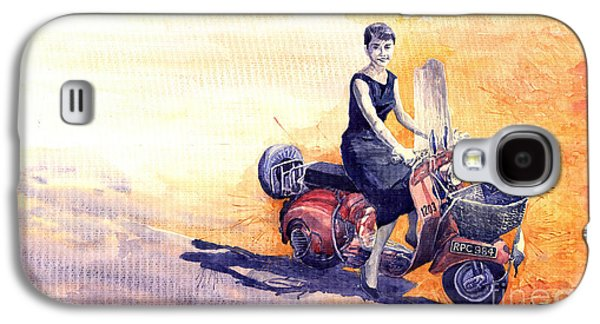 Holiday Paintings Galaxy S4 Cases -  Audrey Hepburn and Vespa in Roma Holidey  Galaxy S4 Case by Yuriy  Shevchuk